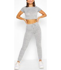 zachte melange crop top en joggingbroek lounge set, grijs