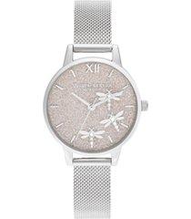 olivia burton women's dancing dragonfly stainless steel mesh bracelet watch 30mm