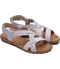 sandalia de cuero blanca valentia calzados luly