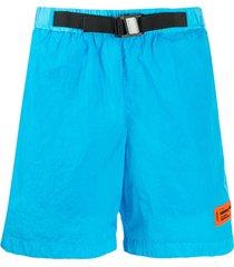 heron preston buckle strap deck shorts - blue