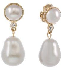 laundry by shelli segal pearl drop clip earrings