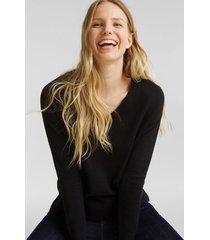 sweater cuello en v algodón ecológico negro esprit