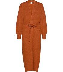 celiesz long cardigan gebreide trui cardigan oranje saint tropez