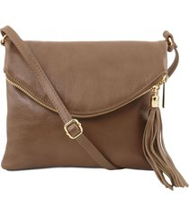 tuscany leather tl141153 tl young bag - borsa a tracolla con nappa talpa scuro