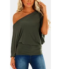 yoins basics army green pleated diseño one camiseta de manga larga con hombros descubiertos