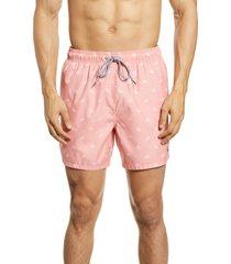 men's ted baker london lobster print swim trunks, size 7 - pink