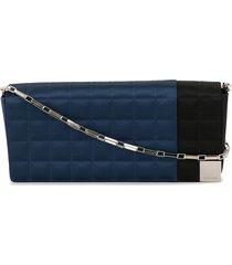 chanel pre-owned choco bar patchwork shoulder bag - black