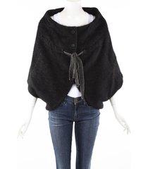 stella mccartney black angora mohair tied poncho jacket black sz: xs