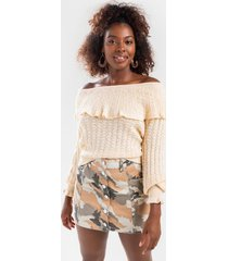 siena off the shoulder sweater - natural