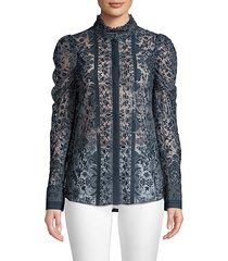 genna lace puff-sleeve blouse