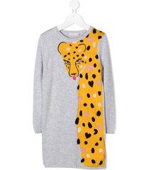 billieblush leopard-detail jumper dress - grey