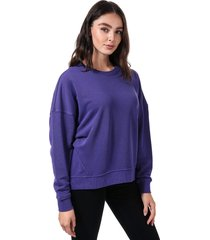 only womens karla embroidered crew sweatshirt size 16 in purple