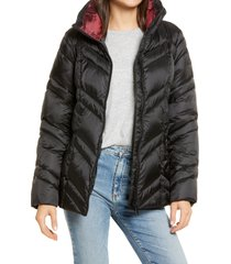 women's sam edelman chevron quilted puffer jacket, size large - black