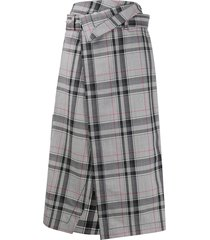 3.1 phillip lim checked wrap midi skirt - grey