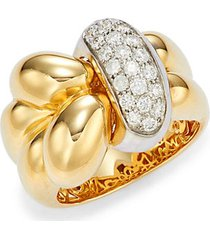 18k two-tone gold, ruby & diamond knot ring