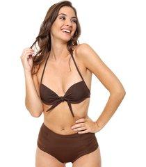 bikini marrón lecol talles reales lorena