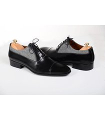 handmade men two tone leather formal shoes men oxford black and gray dress shoes