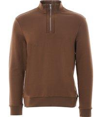 boss sidney zip-neck sweatshirt | dark brown | 50426074-207