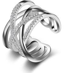 anello impilabile twining clear cz ring dazzling zirconia anelli di fidanzamento per regalo gioielli delle donne