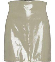 cassidy pu skirt knälång kjol grön gina tricot