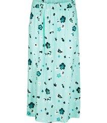 blommig kjol med slits, midilängd