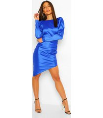 midi jurk met open rug en pofmouwen, kobalt