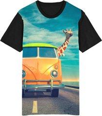 camiseta migian kombi girafa sublimada preto