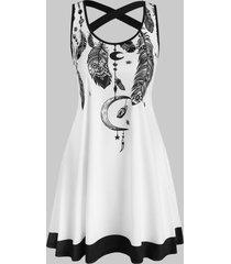 criss cross feather print mini tank dress