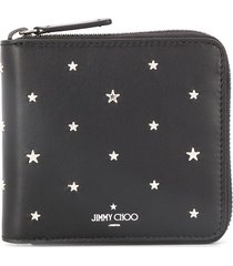 jimmy choo lawrence studded wallet - black