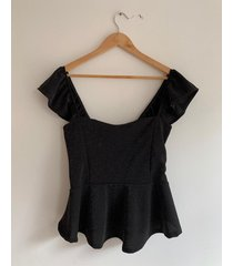 top negro circe peplum crepe