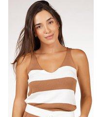 regata pink tricot comfy de tricot modal listrada e decote v feminina - branco/dourado/estampado/listra/listrado/multicolorido - feminino - viscose