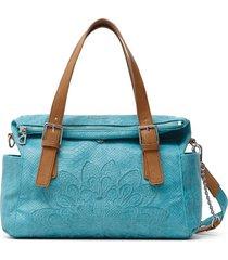 bolso azul aguamarina-camel desigual