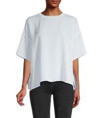 vince women's short sleeve oversized silk blouse - powder blue - size xs