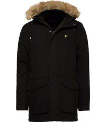 winter weight microfleece lined parka parka jas zwart lyle & scott