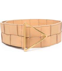 bottega veneta maxi intrecciato leather belt - neutrals