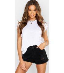 basic cap sleeve rib neck t-shirt, white