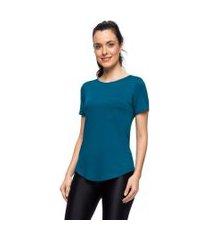 camisetas mulher elastica camiseta basic pocket - verde escuro - m verde