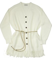 brunello cucinelli cotton english rib knit cardigan with belt