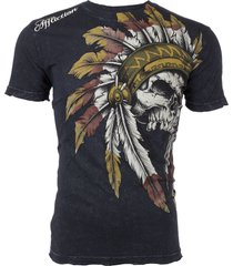 true fredoom/ affliction mens t-shirt indian skull