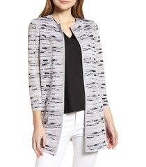 women's ming wang textured mixed media jacket, size medium - grey