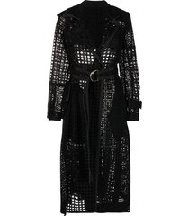 sacai mesh belted trench coat - black