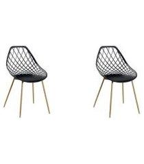 conjunto 02 cadeira cloe base aço preto