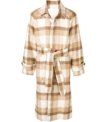 ami paris raglan sleeves belted long coat - neutrals
