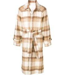 ami raglan sleeves belted long coat - neutrals