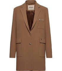 christie wall coat dunne lange jas beige mos mosh
