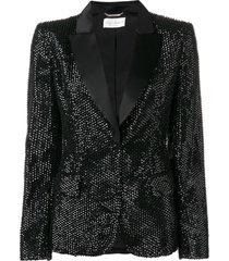 alberta ferretti stud embellished blazer - black