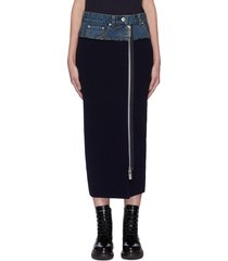 denim waist panelled zip pencil skirt