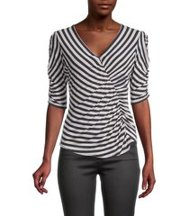 bailey 44 women's adele striped ruched top - twilight - size l