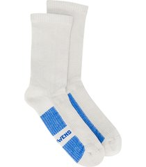 rick owens logo printed ankle socks - grey