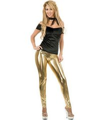 buyseasons women's liquid metal leggings gold